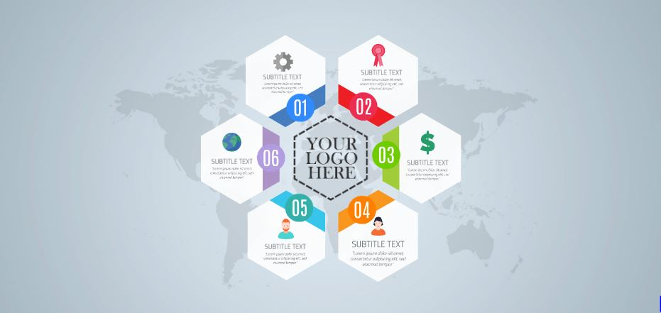 hexagon infographic presentation template | sharetemplates, Presentation templates