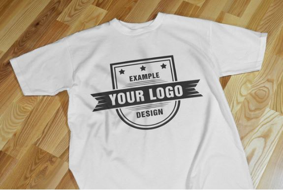 T shirt on floor realistic front view mockup template for Online custom shirt maker
