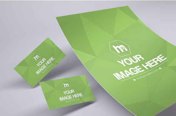 D Hovering Papers Business Cards Mockup ShareTemplates - 3d business card template