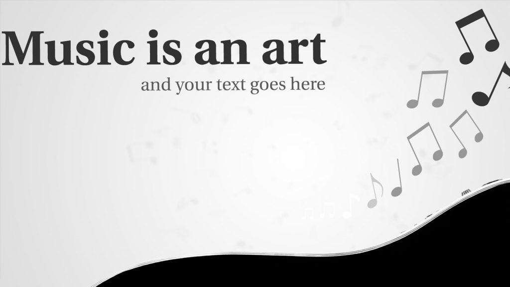 Music Prezi Template With Guitar And Notes Around It On Grey Background