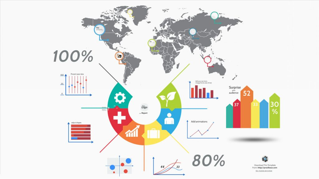 world map and infographics elements for business