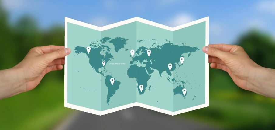 Travel the world presentation template sharetemplates travel the world world map global man hands gumiabroncs Choice Image