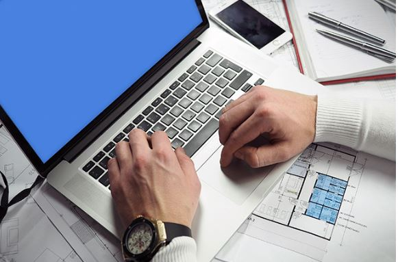 professional businessman working on laptop template