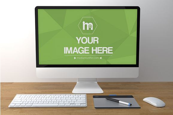 front view of imac on desk mockup template sharetemplates