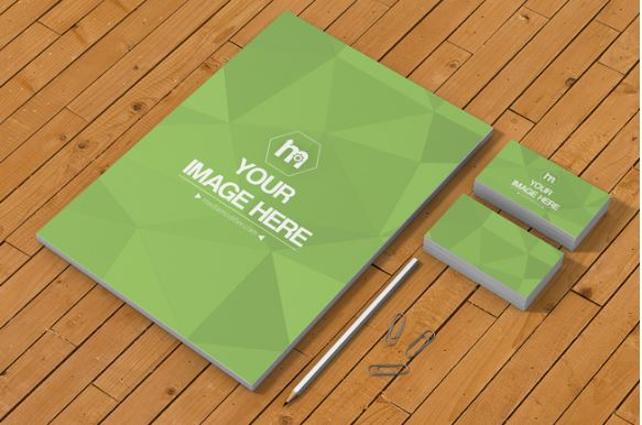 A4 And Business Cards Stationery Branding Design Mockup Template