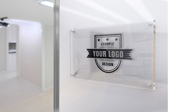 Glass Sign on Office Wall Mockup Template | ShareTemplates