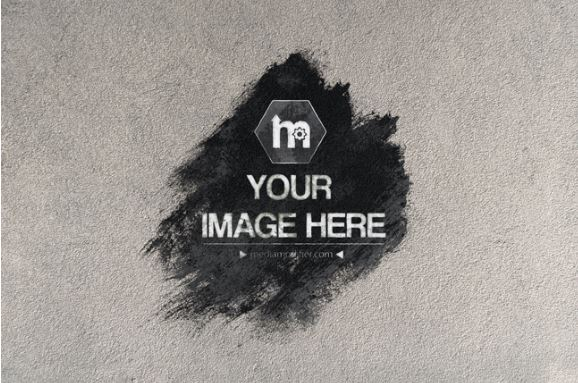 Ink Splatter Effect On Plaster Wall Background Mockup Template
