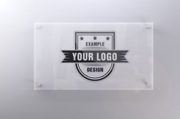 Logo On Glass Sign Front View Mockup Maker Template