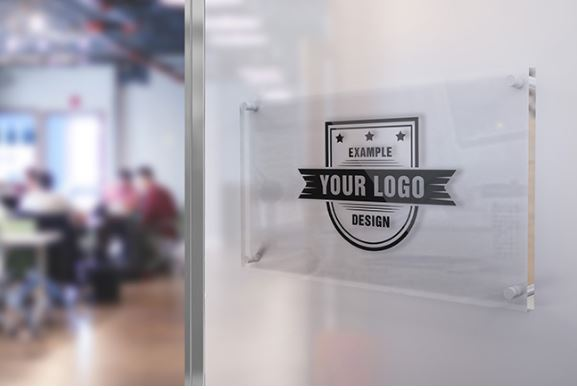 logo on office glass sign mockup template