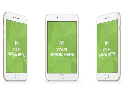 golden iphone screen from 3 angles mockup template sharetemplates