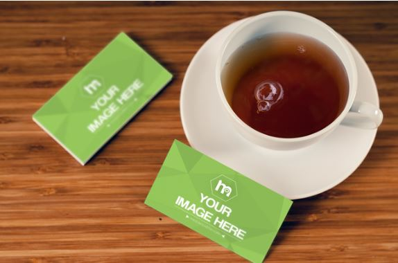 Business card mockup template sharetemplates business card mockup print hot tea business desk accmission Choice Image