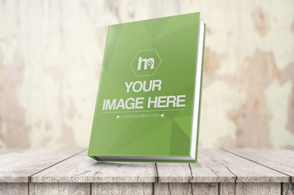 3d book cover mockup on wood stage