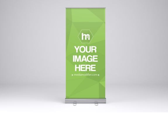 single roll up banner stand mockup generator
